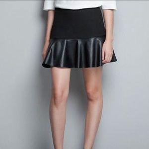 Leather Ruffle hem Zara skirt